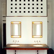 bathroom divider with double basin