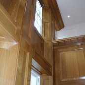 oak library panelling, windows and shelves