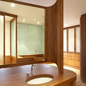teak and glass bathroom double washstand