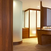 teak and glass bathroom toilet cubicle